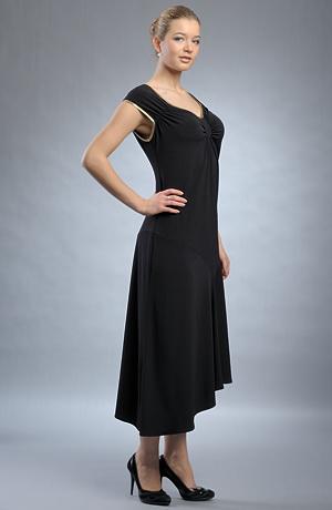 Elastické černé večerní šaty, tyto levné modely šatů jsou vhodné i pro silnější postavy, vel . 40, 40, 44, 46 / XL a XXL.
