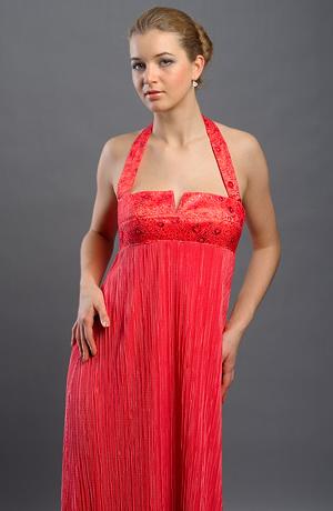 Dlouhé empírové večerní společenské šaty s ramínky za krk, vel. 38.
