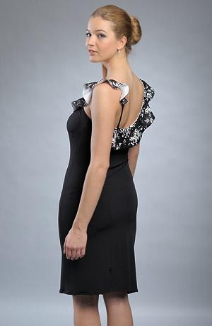 Elegantní černé koktejlové šaty s flitrovým volánem.