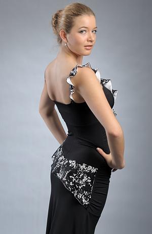 Luxusní dlouhé černé večerní šaty na slavnostní společenské příležitosti. vel. 38