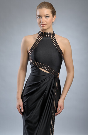 Elegantní večerní šaty zdobené zlatými pruhy a průstřihem na břiše. Vel. 38, 40