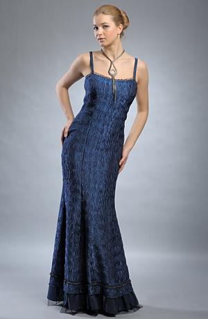 Modré plesové dlouhé šaty na ramínka.