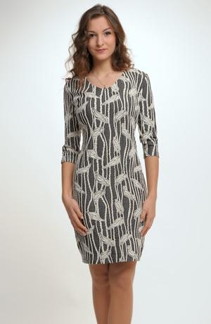 Pletené šaty nad kolena vhodné do kanceláře, recepce...