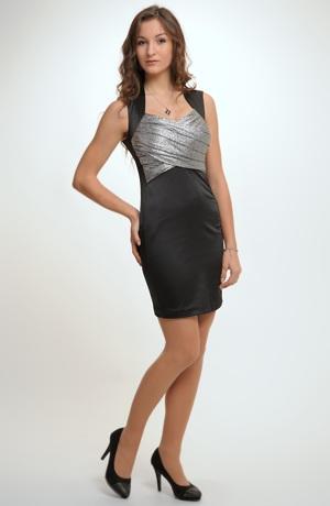 Černé mini šaty na široká ramínka se stříbrným sedlem