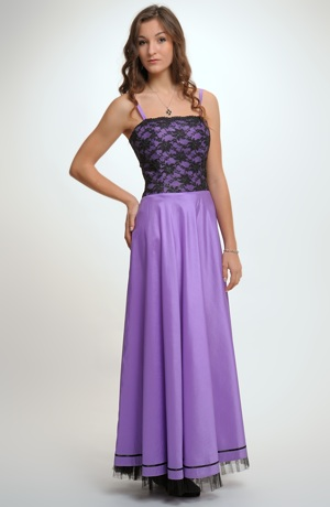Společenské fialkové šaty s krajkovým sedlem, vel. 38