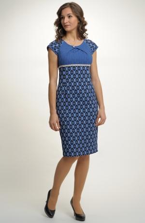 Krátké šaty empírového střihu s elastickou tkaninou