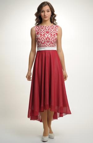 Elegantní společenské šaty s vintage vzorem na živůtku