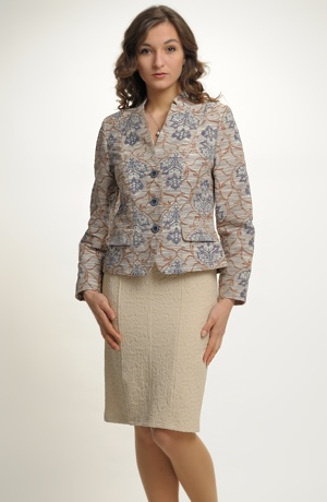 Dámské společenské sako se zajímavým tkaným vzorem.