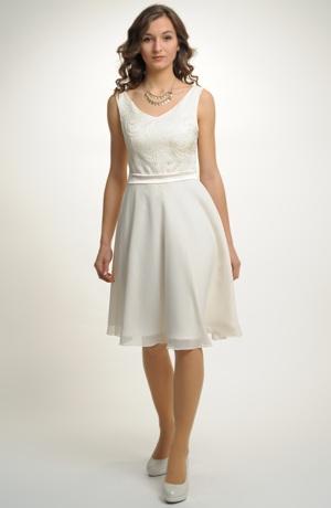 Smetanové krátké svatební šaty vhodné i jako společenské šaty