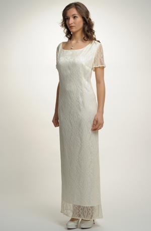 Velmi elegantní dámské dlouhé svatební šaty s krajkou pro plnoštíhlé