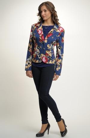 Společenské elegantní sako s květem