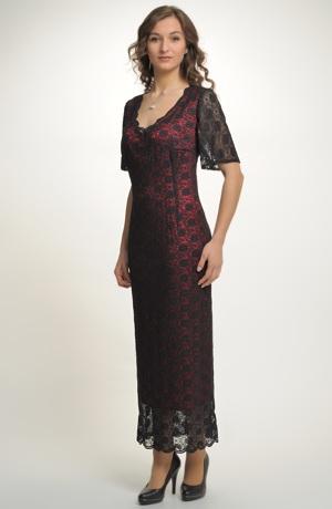 Dlouhé černé krajkové šaty pro plnoštíhlé, velikosti - XXXL...