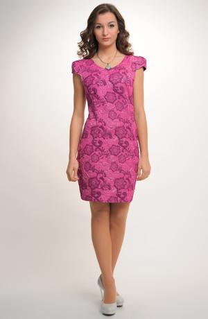 Šaty s plastickým jemným vzorem v lila barvě