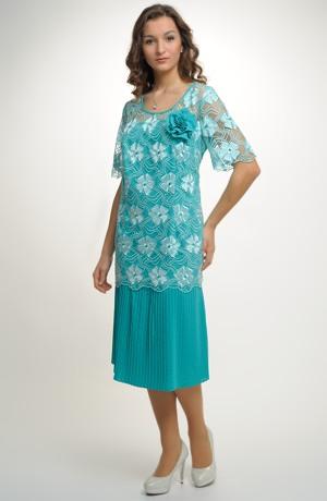 Elegantní dámské poudzdrové koktejlové šaty z krajky, vel. 46, 48, 50, 52, 54