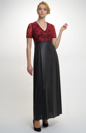 Exkluzivní model společenských večerních šatů s živůtkem z krajky . Velikost 42, 44.