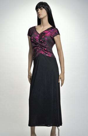 Černé večerní šaty zdobené lila živůtkem