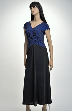 Elastické černé večerní šaty XL, XXL s modrým živůtkem.