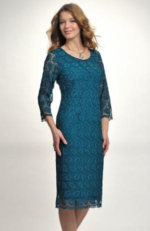 Pouzdrové společenské šaty z elastické krajky, vel.42 až 52 pro plnoštíhlé, stríh: pouzdrové šaty