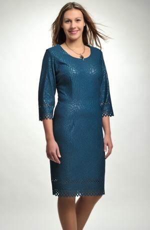 Dámské elastické pouzdrové šaty s 3/4 rukávky a bordurou