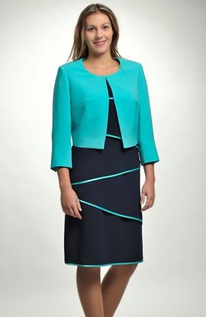Šatový kostým s krátkým sakem v modro zelené barvě