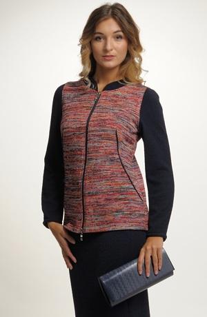 Dámský pletený kabátek sportovního střihu na zip