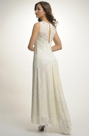 Luxusní svatební krajkové šaty v barvě vanilky