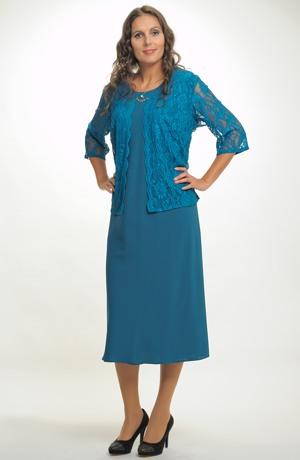 Společenské šaty pro plnoštíhlé zdobené krajkou. Šaty vhodné na svatbu, koncert atd.