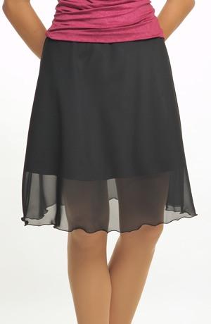 Společenská černá šifónová sukně
