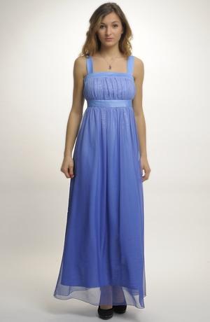 Luxusní modré společenské šaty s ramínky v jemné pomněnkové barvě, vel. 42