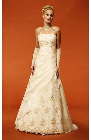 Svatební šaty na ramínka s vrstvenou sukní a výšikou