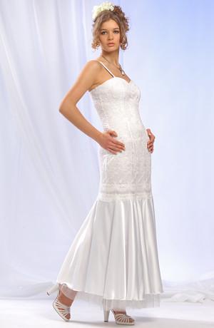 Šaty z vyšívaného tylu v siluetě mořské panny s bohatým saténovým volánem