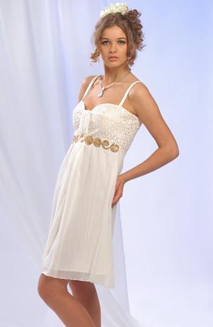 Krátké šifonové šaty v římském stylu na ramínka.