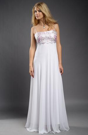 Bílé svatební šaty na ramínka s řasenou dlouhou sukní.