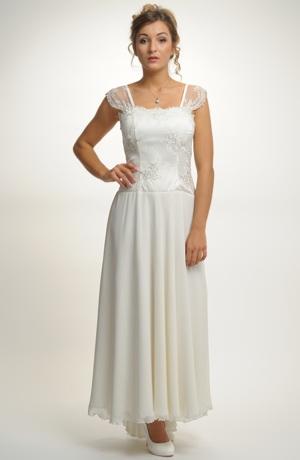 Šaty korzetového střihu s kolovou sukní a výšivkou.