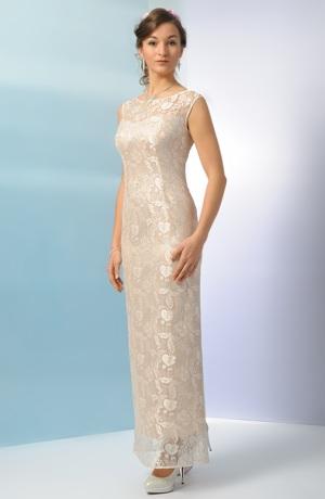 Elegantní šaty z jemné krajky v tělové barvě