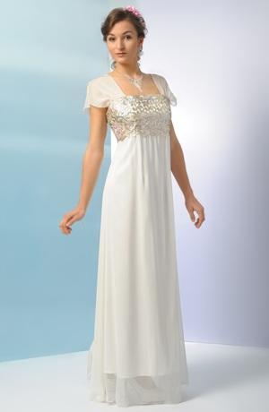 Krásné svatební šaty s řasenou dlouhou sukní.