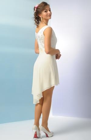Svatební šaty s elastickým živůtkem a kolovou asymetrickou sukní