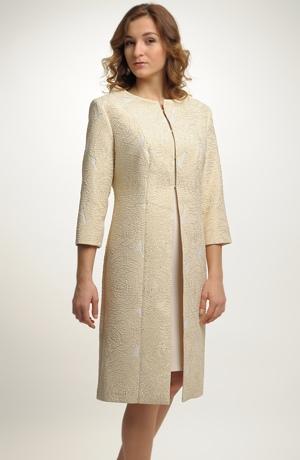 Šatový kostým na svatbu s krátkým kabátem z luxusního materiálu