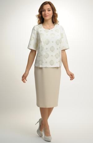 Dámské elastické pouzdrové šaty s rukávky pro plnoštíhlé