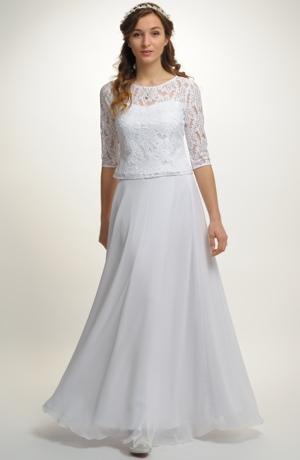 Svatební dvojdílné šaty s krajkou na živůtku