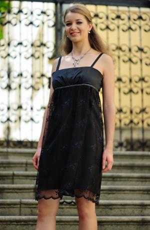 Dívčí šaty babydoll z jemného tylu s potiskem
