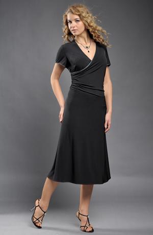 Společenské černé polodlouhé zavinovací šaty v lady délce vel. 38, 44, 46, 48, 50