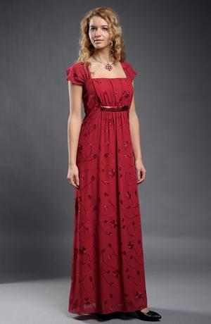Dlouhé večerní šaty pro plnoštíhlé, XXL z vyšívaného šifónu a s kamínky, vel. 46, 48
