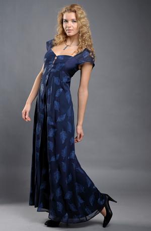 Dlouhé empírové modré šaty s tiskem -sleva