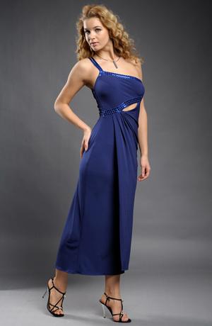 Elegantní plesové šaty se zavinovací sukni a řasením.