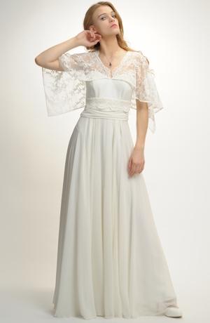 Luxusní šaty z vyšívaného tylu na pelerince