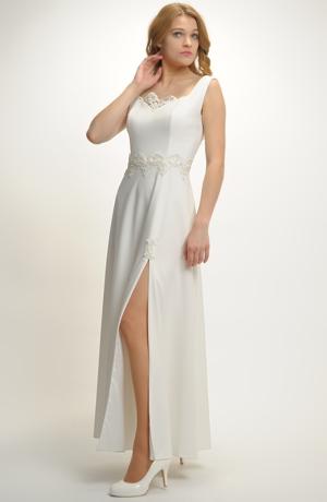 Luxusní dlouhé svatební šaty s bohatou kajkou v pase