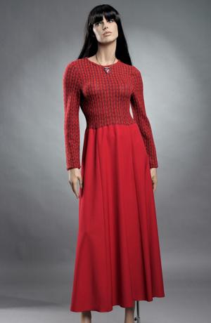 Šaty dlouhý rukáv s pleteným živůtkem