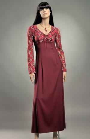 Dlouhé empírové šaty s krajkovým sedlem - výprodej