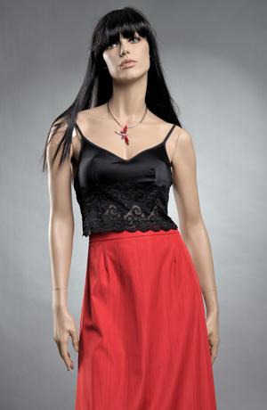 Prádlový černý top s krajkou